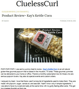 Clueless Curl Review Kay's Kettle Corn